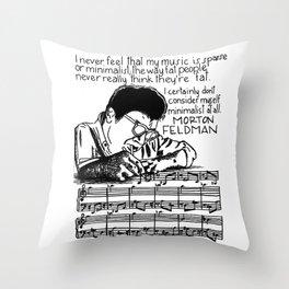 Morton Feldman with Quote Throw Pillow
