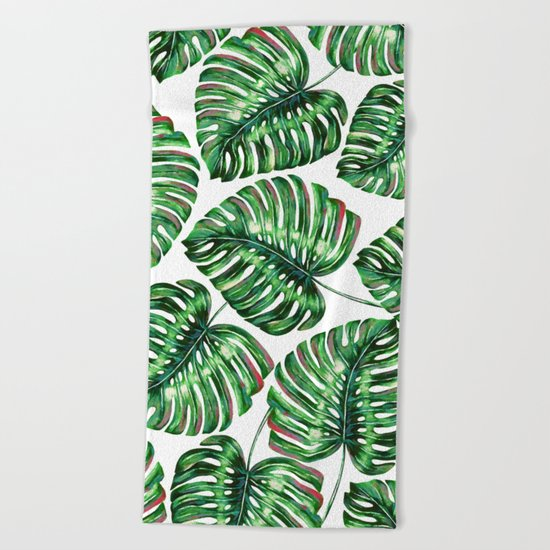 Tropical Greenery #society6 #decor #buyart Beach Towel