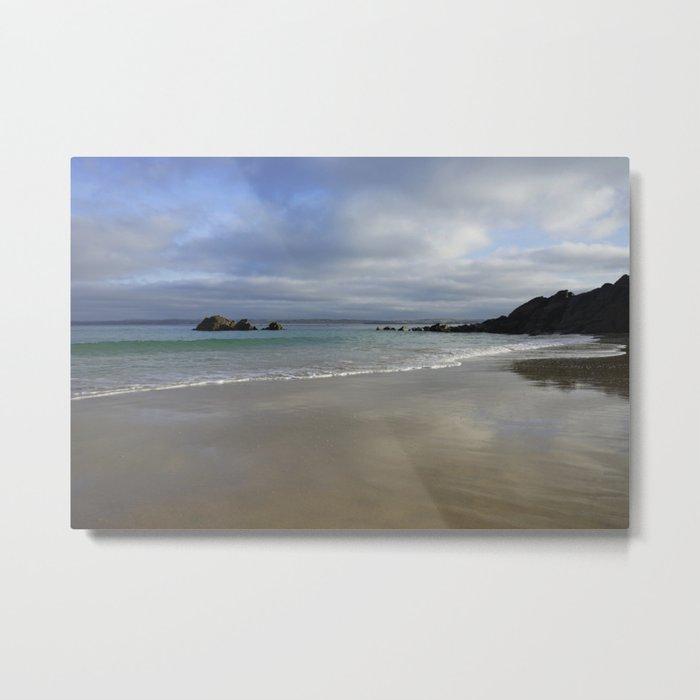 Winter Ocean Waves and Sky Cornwall Metal Print