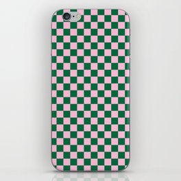 Cotton Candy Pink and Cadmium Green Checkerboard iPhone Skin