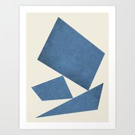 3 Forms Composition - Blue Art Print