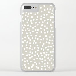 Beige and White Polka Dot Pattern Clear iPhone Case