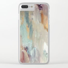 Gentle Beauty [4] - an elegant acrylic piece in deep purple, red, gold, and white Clear iPhone Case