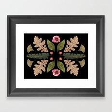 ROSE & LEAVES COLLAGE BLACK BACKGROUND Framed Art Print