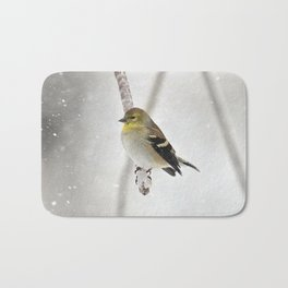 Goldfinch Clinging to an Icy Branch Bath Mat