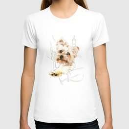 Yorkie in a backpack (Yorkshire Terrier) T-shirt