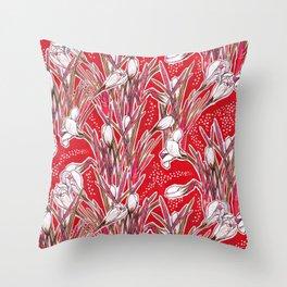 Crocus Flowers, Botanical Floral Pattern, Scarlet Throw Pillow