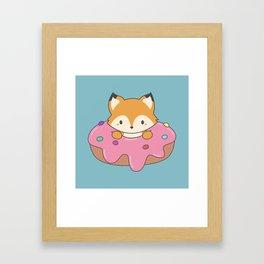 Kawaii fox and donut Framed Art Print