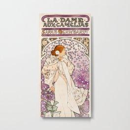 Alphonse Maria Mucha - La dame, aux camelias, Sarah Bernhardt Metal Print