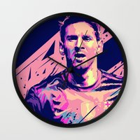 messi Wall Clocks featuring Lionel Messi : Football Illustrations by mergedvisible