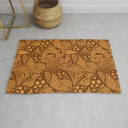 Copper Autumn Stylized Leaves in Rust Rug