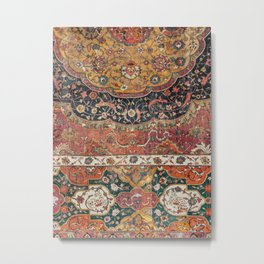 Persian Medallion Rug IX // 16th Century Distressed Red Green Blue Flowery Colorful Ornate Pattern Metal Print