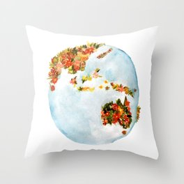 Blooming Earth Throw Pillow