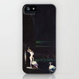 'Leda' female form with swans at waterfall and emerald ocean by Boleslaw Biegas iPhone Case