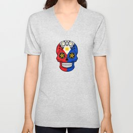Sugar Skull with Roses and Flag of Philippines Unisex V-Neck