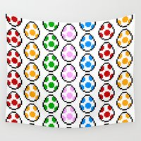 yoshi Wall Tapestries featuring Yoshi Rainbow Eggs by Rebekhaart