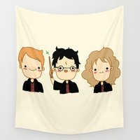 potter Wall Tapestries featuring Happy Potter by Keasy