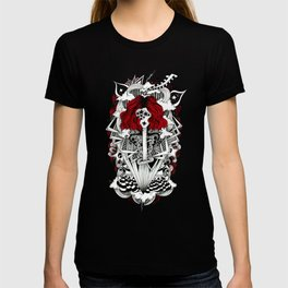 ink illustration psychedelic red head rock'n'roll girl T-shirt