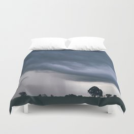 Evening thunder storm and clouds over rural scene. West Acre, Norfolk, UK. Duvet Cover