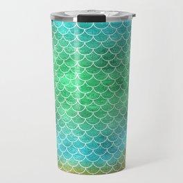 Mermaid scales aqua green gold Travel Mug