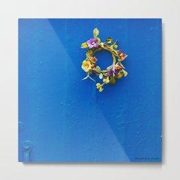 Rustic Blue Door, Simple Flower Wreath  Metal Print