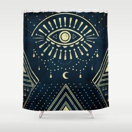 Eye Midnight Gold Shower Curtain