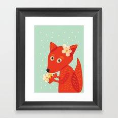Cute Fox And Flowers Framed Art Print