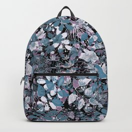 Openwork blue and purple leaves on a black background . Backpack