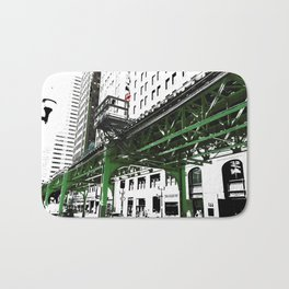 Chicago photography - Chicago EL art print in green black and white Bath Mat