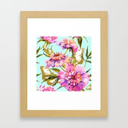 Flowery nature and golden butterfly Framed Art Print