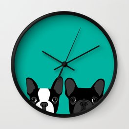 Boston Terrier and French Bulldog Wall Clock