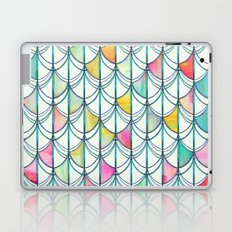Pencil & Paint Fish Scale Cutout Pattern - white, teal, yellow & pink Laptop & iPad Skin