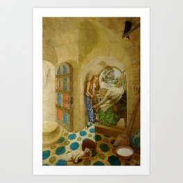 Sleeping Beauty The Princess Pricks her Finger on a Spinning Wheel Fairy Tale portrait by Leon Bakst Art Print