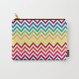 Multi-Colored Rainbow Candy Chevron pattern Carry-All Pouch