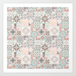 Moroccan Tile Pattern with Rose Gold Art Print
