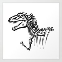 t rex Art Prints featuring T-Rex by ALT Illustration