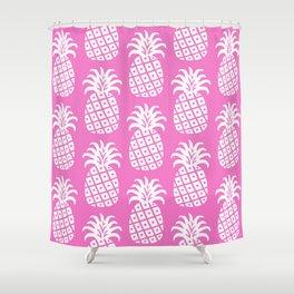 Retro Mid Century Modern Pineapple Pattern Pink 2 Shower Curtain