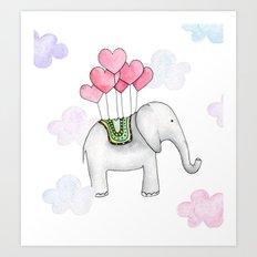 Kids decor Watercolor elephant Cartoon animal illustration Love print Valentines Art Print