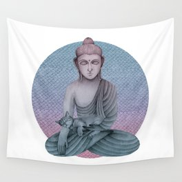 Buddha with cat2 Wall Tapestry