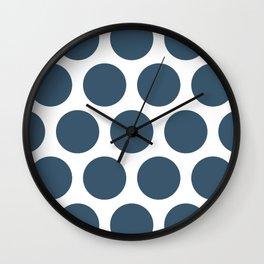 Dusky Blue Large Polka Dots Wall Clock