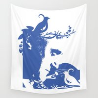 violin Wall Tapestries featuring Violin and dove by Design4u Studio