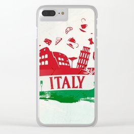 italian flag ink background with silhouette symbol Clear iPhone Case