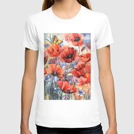 watercolor poppies T-shirt