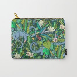 Improbable Botanical with Dinosaurs - dark green Carry-All Pouch