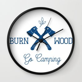 Go Camping Burn Wood Wall Clock