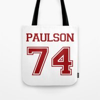sarah paulson Tote Bags featuring Sarah Paulson Varsity by NameGame