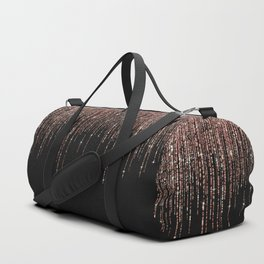 Luxury Black Rose Gold Sparkly Glitter Fringe Duffle Bag