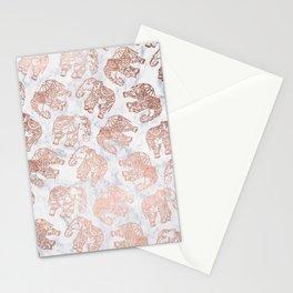 Boho rose gold floral paisley mandala elephants illustration white marble pattern Stationery Cards