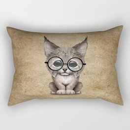 Cute Baby Lynx Cub Wearing Glasses Rectangular Pillow