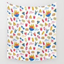 Summer BBQ Pattern - Blue Red Yellow Wall Tapestry